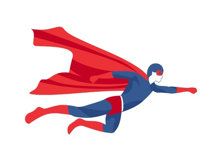 Superhero Icon   Vector flying superman figure symbol