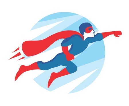 Superhero Icon   Vector flying superman figure symbol