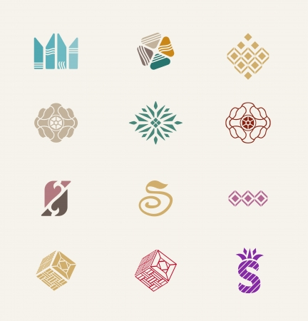 Stone icons set   Abstract signes set for luxury stone jewellery company