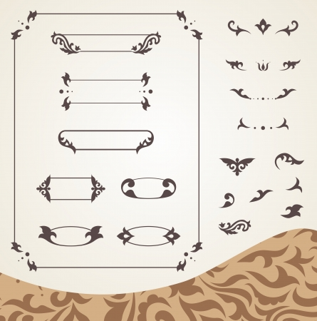 Arabic frames and design elements set Illustration