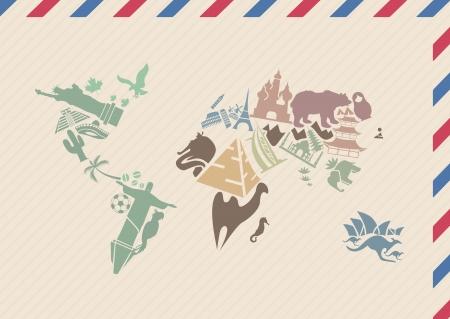 old ruin: Vintage envelope with world map made of landmarks  Illustration