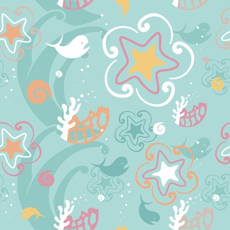 corall: Vector seamless pattern with sea animals - star, whale, corrals Illustration