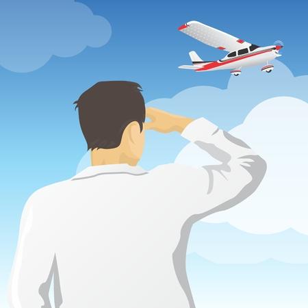 camicia bianca: L'uomo in camicia bianca lookig al cielo con aereo Vettoriali