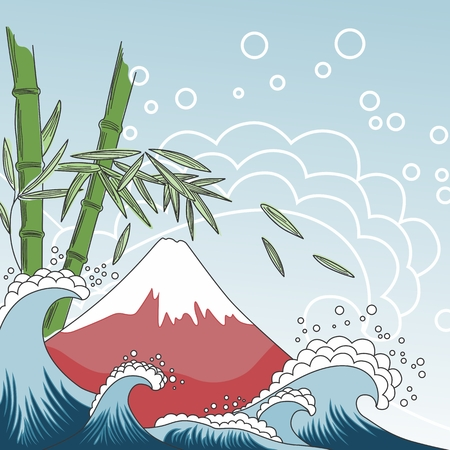 Card with Fuji Mount, sea waves and bamboo tree Vector
