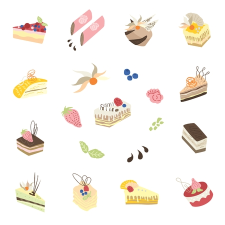 Icons of different cakes and pies with cute decoration