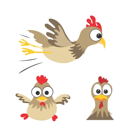 Cute cartoon vector birds with large eyes  Vector