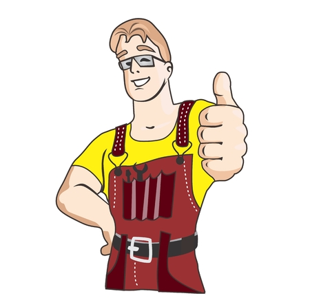 Smiling young man with thumbs up and tools Vector
