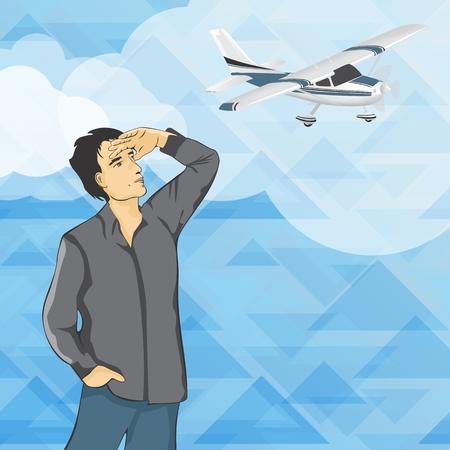camicia bianca: L'uomo in camicia bianca lookig a cielo con aereo
