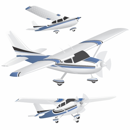 Set of blue and white planes in different positions Ilustrace