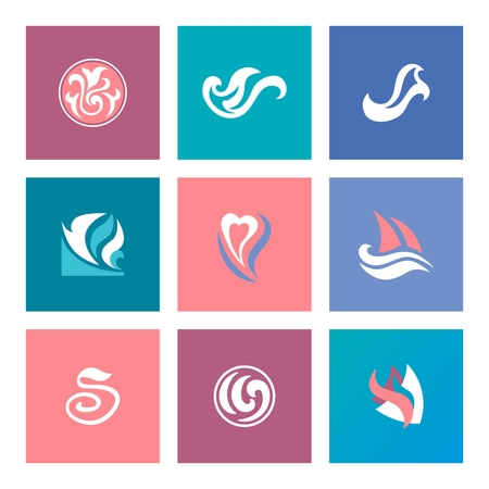 Set of icon templates for business in pastel colors Vector