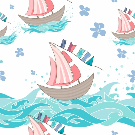 background with flowers, waves and ships