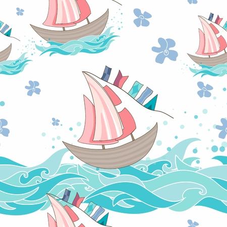 Fondo con las flores, las olas y los barcos
