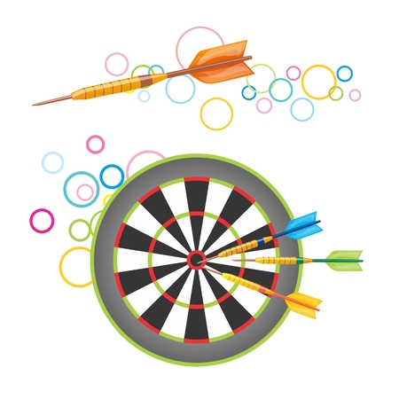 darts flying: Colorful illustration of darts flying to the target