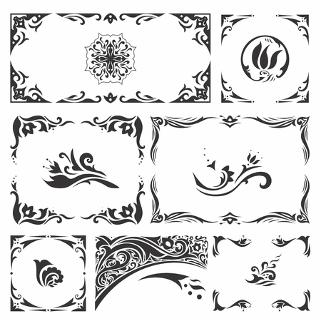 Set of elegant Islamic vignettes and borders for design, cards, invitations Illustration