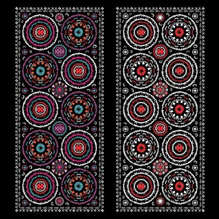 oezbekistan: Vintage Oezbekistan ornamenten voor interieur en het bedrijfsleven Stock Illustratie