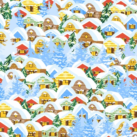 Vector background with village houses and trees for gift wrap, design and cards