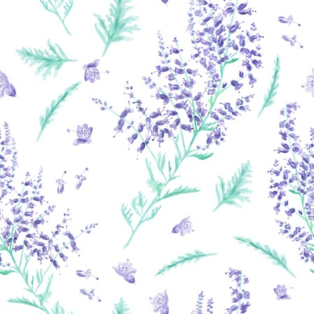 Background with lavender flowers and leaves for design photo