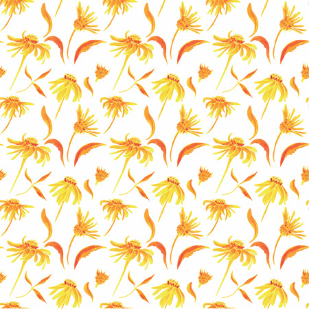 Watercolor Retro seamless pattern with flowers  Floral pattern   Stock Photo
