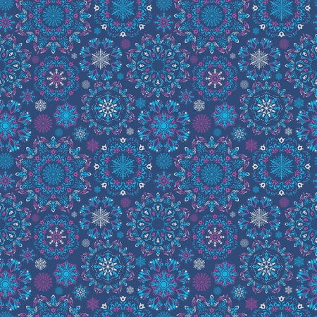 Seamless background with ornamental snowflakes for designs, cards, invitations Illustration