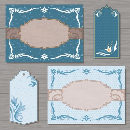 nvitation, tarjetas de felicitaci�n con elegantes adornos orientales de �poca Vectores