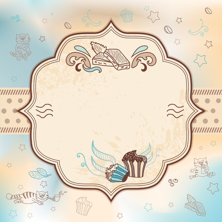 Vector card for greeting, wedding, birthday invitation with cupcakes and chocolate cats Vector