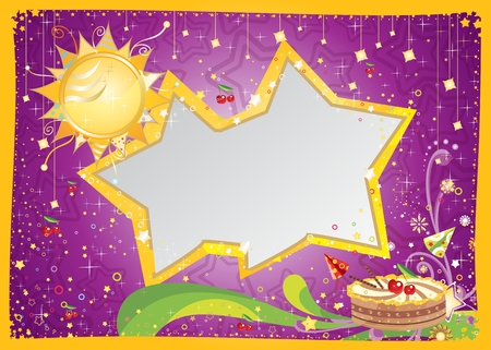 Bright anniversary card with cake Vector