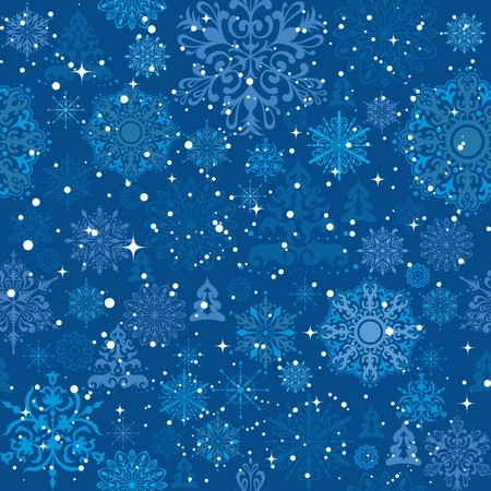 Snowflakes and christmas trees background for gift wrap Illustration