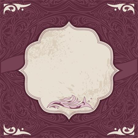 bordo: Invitation, congratulation cards with elegant eastern vintage ornaments Illustration
