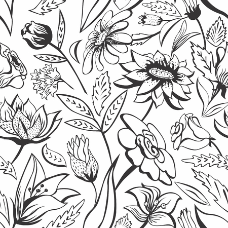 Seamless outline vector background with vintage flowers  Vector