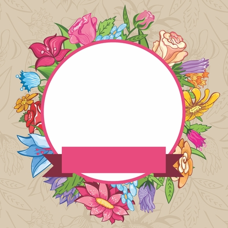 Retro floral vignette with round label for design Vector