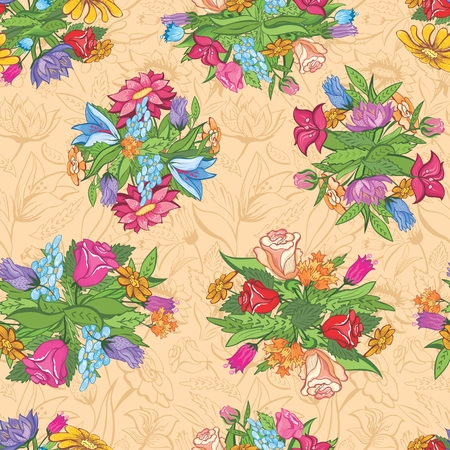 seamless background with spring flowers for design Vector