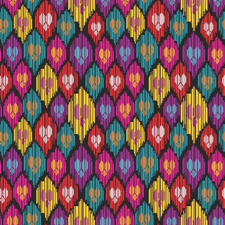 Colorful seamless ethnic pattern with hearts and stripes