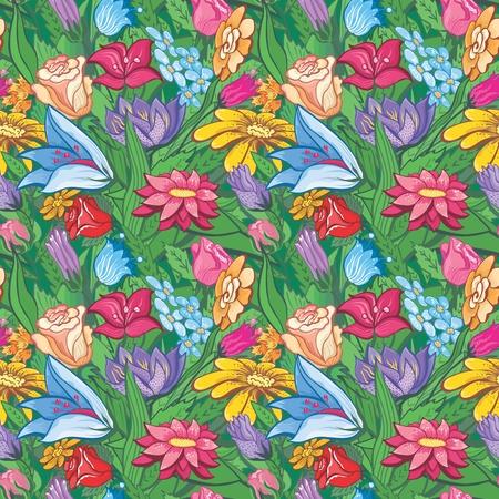 Fondo transparente verde con flores de primavera para el dise�o Vectores