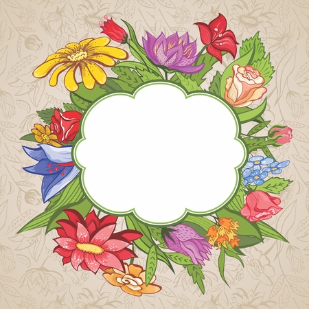 Colorful floral vignette with flowers and leaves for design Vector