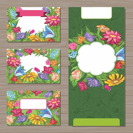 Business cards and flyer with floral ornaments for design