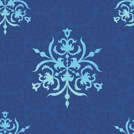 skyblue: Seamless christmas background with elegant watercolor snowflakes Illustration