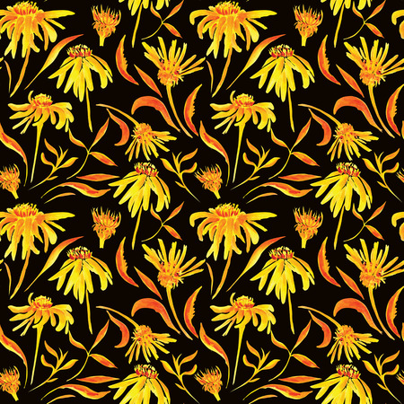 Background with yellow and orange flowers and leaves for design