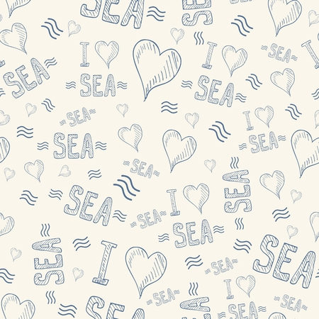 Vector seamless pattern with letters and hearts Illustration