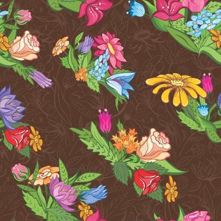 fondo marr�n semless con vi�etas florales de papel tapiz, dise�o textil