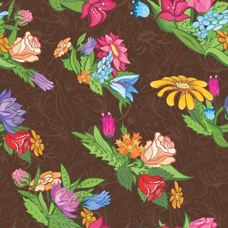 semless brown background with floral vignettes for wallpaper, textile design