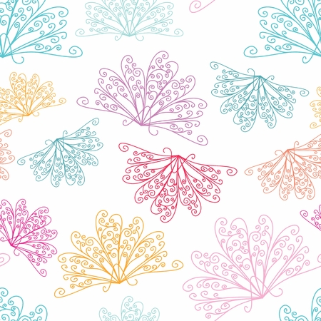 Seamless vector background with peacock curls and swirls Vector