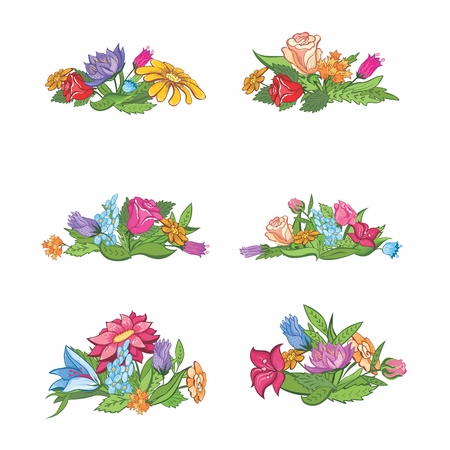 Summer flower ornaments for design - cards invitations  banners Vector