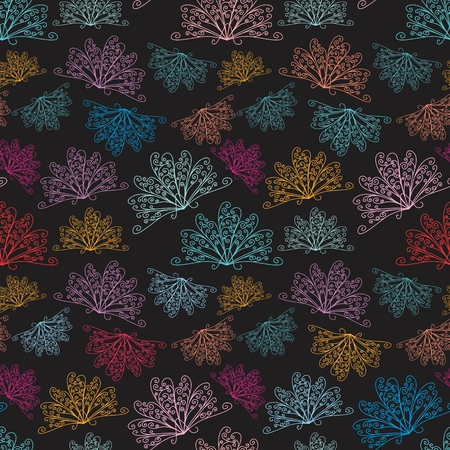 Seamless vector background with peacock curls and swirls