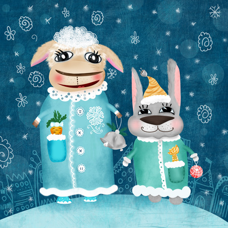 moroz: Christmas new year children illustration card with funny characters