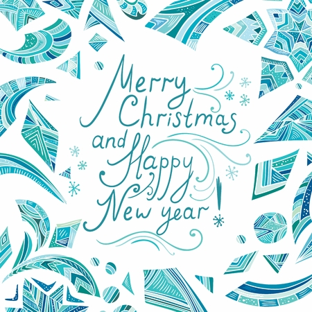 Ney Year card with blue tribal ornaments Illustration