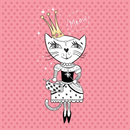 Funny cat with crown and bag in a beautiful dress
