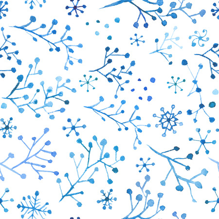 Seamless winter background with cute watercolor ornaments