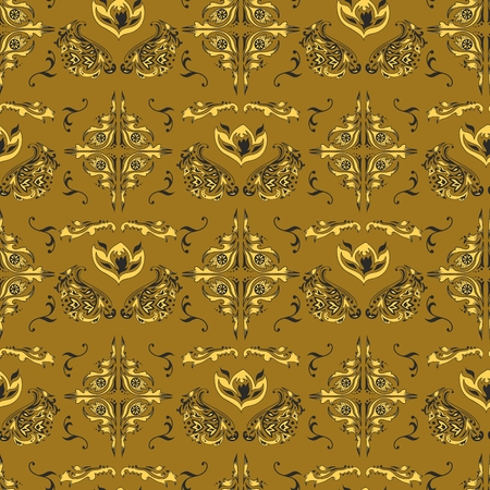 Golden islamic seamless background with swirl ornaments