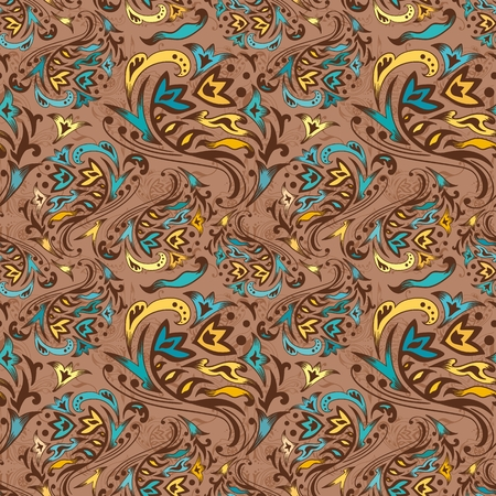 Brown, yellow and turquoise seamless background with Islamic motifs Illustration