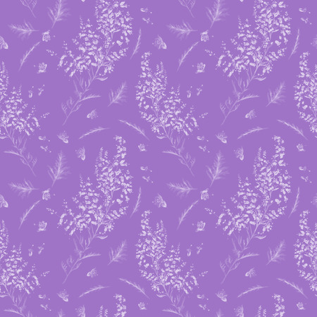 Background with lavender flowers and leaves for design